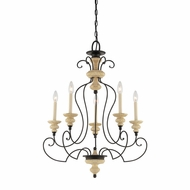 Quoizel SHL5005SEC Shelby Classic 5 Light Medium Candle Chandelier - Black And Sand Finish