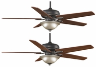 Fanimation Fans FPD8088BA Keistone 60  Bronze Accent Halogen Ceiling Fan with Amber Linen Glass and Reversible Cherry/Walnut Blades