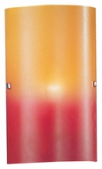 EGLO 83204A Troy I 11 Inch Tall Red & Orange Glass Wall Sconce With Matte Nickel Finials
