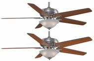 Fanimation Fans FPD8088PW Keistone 60  Pewter Halogen Ceiling Fan with White Linen Glass and Reversible Cherry/Walnut Blades