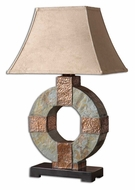 Uttermost 26307 Slate 28 Inch Tall Donut Table Lamp With Copper Highlights