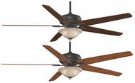 Fanimation Fans FPD8089BA Keistone 72  Bronze Accent Halogen Ceiling Fan with Amber Linen Glass and Reversible Cherry/Walnut Blades