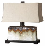 Uttermost 26455-1 Adelanto Rusty Orange Drip Ceramic Table Lamp - 22 Inches Tall