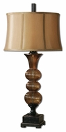 Uttermost 26462 Helios Fluted Amber 36 Inch Tall Glass Table Lamp With Bronze Details
