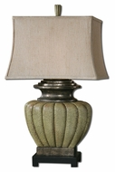 Uttermost 26545 Tufillo 31 Inch Tall Crackled Green Lighting Table Lamp With Pewter Accents