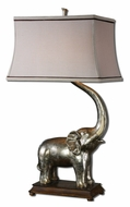Uttermost 26546 Sumatran Antique Silver Elephant With Ivory Finished Tusk - 32 Inches Tall