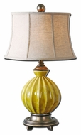 Uttermost 27491 Pratella Yellow Glazed 29 Inch Tall Ribbed Ceramic Table Lamp - Transitional