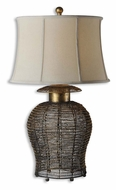 Uttermost 27650 Rickma Antiqued Gold Leaf Woven Metal 32 Inch Tall Table Light