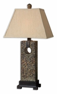 Uttermost 27668 Bibiana 33 Inch Tall Distressed Bronze Table Light With Straight Sided Linen Shade
