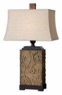 Uttermost 27669 Calvina Burnt Ivory Table Top Lamp With Bronze Details - 34 Inches Tall