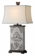 Uttermost 27676 Chiavari Laser Cut 34 Inch Tall Transitional Brushed Aluminum Lighting Table Lamp