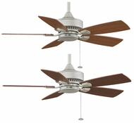 Fanimation Fans FP8042SN Cancun 42  Dry-Condition Downrod/Flush Mount Ceiling Fan in Satin Nickel with Cherry/Walnut Reversible Blades