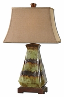 Uttermost 27411 Salvio Green 28 Inch Tall Ceramic Lamp With Bronze Detail