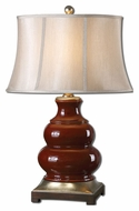 Uttermost 27426 Villalago Deep Maroon Glossy Ceramic Lamp - 31 Inches Tall