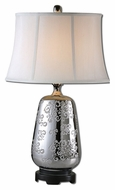 Uttermost 27430 Conifer Polished Silver Etched Ceramic Table Lamp - 28 Inches Tall