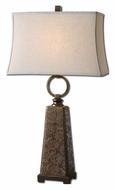 Uttermost 27431 Carsoli 34 Inch Tall Chocolate Bronze Etched Ceramic Lamp
