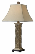 Uttermost h Sulmona Heavily Antiqued 32 Inch Tall Column Gold Leaf Table Light