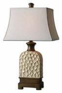 Uttermost 27446 Huslia Transitional Rustic Ivory Ceramic Lamp - 28 Inches Tall