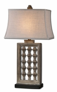 Uttermost 27451 Anacapa Burnished Gray Wash Table Lighting With Khaki Linen Shade