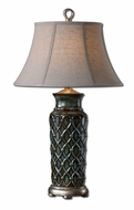 Uttermost 27455 Valenza Heavily Burnished 31 Inch Tall Table Lighting With Oatmeal Linen Shade