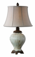 Uttermost 27477 Dernice 28 Inch Tall Heavily Crackled Ivory Ceramic Lamp With Khaki Linen Bell Shade
