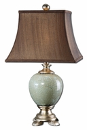 Uttermost 27478 Piovera Crackled Rust Blue 27 Inch Tall Table Light With Bronze Fabric Square Bell Shade
