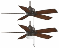 Fanimation Fans FP80 Cancun 52  Wet Location Ceiling Fan in Oil-rubbed Bronze with Woven Bamboo Blades and Optional Low Profile Light