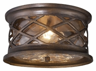ELK 42037/2 Barrington Gate 12 Inch Diameter Flush Mount Bronze Outdoor Ceiling Light Fixture