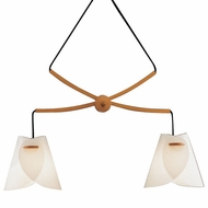 Justice Design DOM-8547 Domus Iris Beech Wood Oriental Twin Ceiling Light
