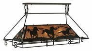 Meyda Tiffany 133883 Wild Horses 48 Inch Wide Silver Mica Kitchen Island Light Fixture With Pot Rack