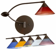 Besa Kona Double Swing-Arm Wall Lamp with Triangular Glass Shade