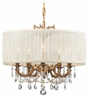 Crystorama 5535AGSAW Brentwood 5-Lamp Chandelier/Semi-Flush Ceiling Light in Aged Brass with Antique White Shade