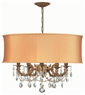 Crystorama 5535AGSHG Brentwood 5-Lamp Chandelier/Semi-Flush Ceiling Light in Aged Brass with Harvest Gold Shade