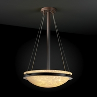 Justice Design FSN969135 Fusion Round Bowl Ringed Pendant Light with Sloped Ceiling Option