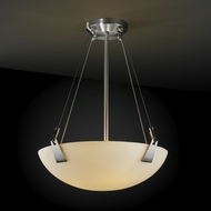 Justice Design FSN9641 Tapered Clips Fusion 18  Round Bowl Pendant Light with Sloped Ceiling Option