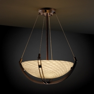 Justice Design FSN9721 Crossbar Fusion 18  Round Bowl Pendant Light with Crossbar and Sloped Ceiling Option