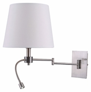 Kenroy Home 32198BS Seymour Swing Arm 18 Inch Tall Brushed Steel Wall Lamp With LED Spot Light