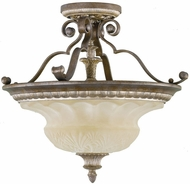 Feiss SF225-BRB-GIS English Palace Traditional 3-light 19 inch Semi Flush Mount Light in British Bronze/Gilded Imperial Silver
