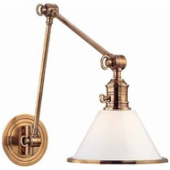 Hudson Valley 8333 Garden City Vertical Swing Arm Wall Lamp - White Shade
