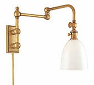 Hudson Valley 772 Monroe 24 Inch Swing Arm Wall Light with Frosted Glass Shade