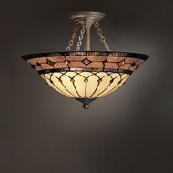 Kichler 69048 Tiffany Art Glass Creations 3 Light 20 Inch Semi Flush Ceiling Fixture