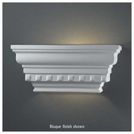 Justice Design 9820 Ambiance Rectangular Dentil Molding w/ Glass Shelf Wall Sconce