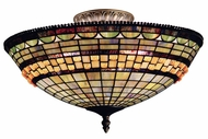 Landmark 934-CB Jewelstone 3 Light Large Tiffany Semi Flush Ceiling Fixture