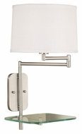 Kenroy Home 20947BS Tabula Swing Arm Brushed Steel Wall Lamp With Tray - 23 Inches Tall