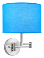 Lite Source LS16515TURQ Kaden Turqoise Polished Steel Swing Arm 11 Inch Tall Wall Lamp