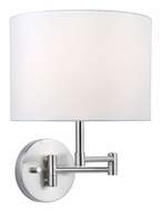 Lite Source LS16515WHT Kaden Swing Arm 11 Inch Tall Polished Steel Wall Lamp - White