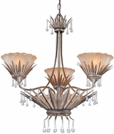 Troy F1333AS St. Barts 3 Light 6 Bulb Rustic Chic Silver and Amber Chandelier