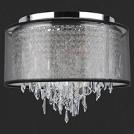 Worldwide W33125C16-BSO Tempest Flush Mount Large Crystal Ceiling Lighting With Shade