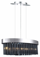 EGLO 20707A Faenza Modern 16 Inch Wide Chrome Finish Oval Chandelier With Smoked Glass