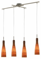 EGLO 88233A Kameo I Linear Bar 4 Lamp Red Brown Glass Island Lighting